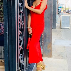 Red (H&M) jumpsuit.